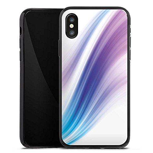 Apple iPhone X Silikon Hülle Case Schutzhülle Pastell Nebel Streifen Silikon Case schwarz