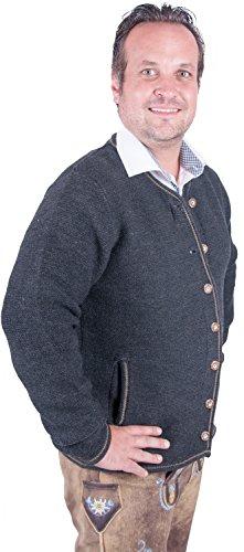 Almwerk Herren Trachten Strick Jacke Modell Xaver, Farbe:Anthrazit;Größe:54 - 2