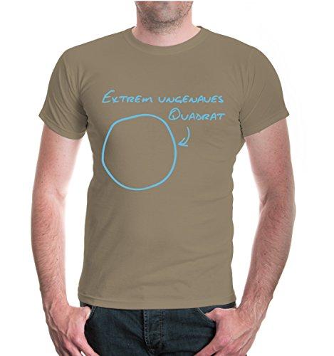 buXsbaum® Herren Unisex Kurzarm T-Shirt bedruckt Extrem ungenaues Quadrat | Kreis Funshirt Geometrie | XL khaki-skyblue Beige (T-shirt Design-khaki Tee)