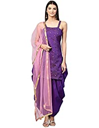 0a00e90fcb Inddus Purple Art Silk Dress material with Net Dupatta (Un-Stitched)