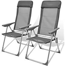 vidaXL Set de 2 sillas camping aluminio, ajustable y plegable