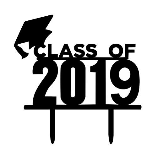 BESTOYARD Kuchen Topper Class of 2019 Kuchendeckel Kuchendekoration Student Abschluss Feier Party Zubehör (Schwarz)