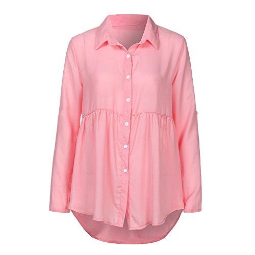 BHYDRY Womens Plus Size Solide Langarm Lässige Chiffon Damen OL Arbeit Top T-Shirt(Rosa,Small)