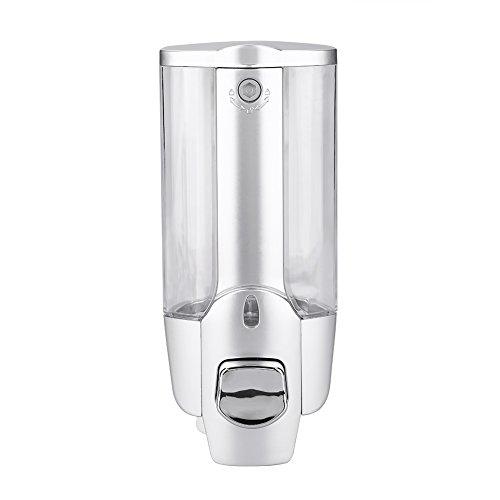 UHRRISE Dispensador de jabón para Montar en la Pared, para Montar en la Pared del baño, 2 dispensadores de loción líquida, 350 ML, 350 ML, Silver Single Cup