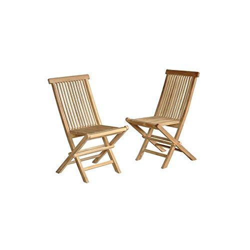 Lot de 2 chaises de Jardin en Bois de Teck Pliantes