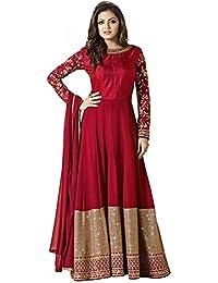 Special Mega Sale Festival Offer C&H Red Georgette Embroidery Anarkali Suits