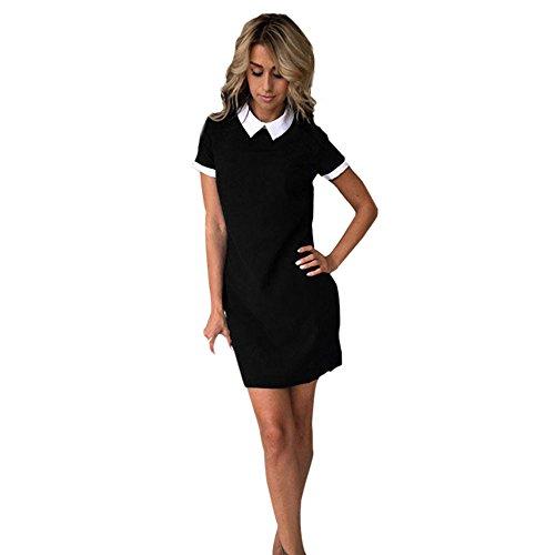 Elecenty Damen Knielang Hemdkleid Kurzarm Blusekleid Umlegekragen Sommerkleid Rock Mädchen Pailletten Kleider Frauen Mode Kurz Kleid Minikleid Kleidung Partykleid (S, Schwarz)