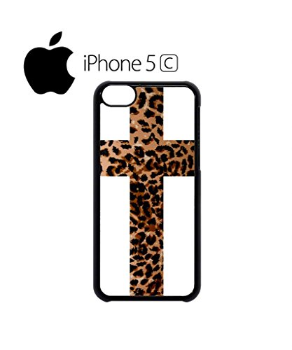 Leopard Cross Religion Mobile Cell Phone Case Cover iPhone 5c Black Weiß