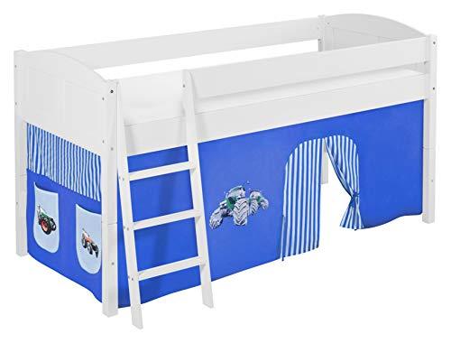 Lilokids Spielbett IDA 4106 Trecker Blau-Teilbares Systemhochbett weiß-mit Vorhang Kinderbett, Holz, 208 x 98 x 113 cm