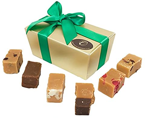 Fudge Luxury Gift Box, 10 Large Assorted Pieces: Creamy, Caramel, Baileys, Salted Caramel. Silver Wrapping. Gluten Free