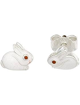 Kinder Ohrstecker kleiner Hase mit Lackeinlage poliert Ø ca. 5,6 x 6,5 mm 925/- Sterling Silber