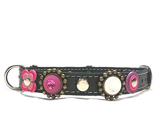Superpipapo Leder Hundehalsband Design Handgemacht Alle Größen | Schwarz Leder mit Blinkend Bling Rosa Lila und Luxus Strasssteine (Luxus-leder-hundehalsbänder)
