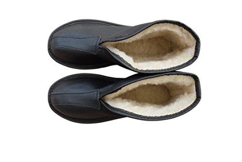 Pantofole Unisex in Pelle Naturale e Fodera in Lana di Pecora, taglia 36-45 Black