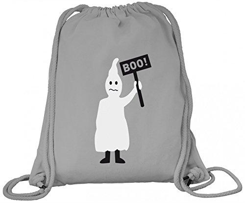 n Grusel Kostüm Premium Bio Baumwoll Turnbeutel Rucksack Stanley Stella Halloween - Boo Gespenst, Größe: onesize,Heather Grey (Grey Ghost Kostüm)