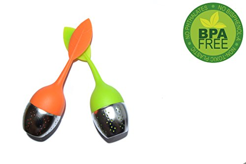 Infuseur à Thé, Acier inoxydable Garantie Sans BPA-FREE, Lot de 2 - Couleur Vert et Orange
