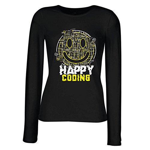 52bdbff2e1fd8 Camisetas de Manga Larga para Mujer codificación Feliz - Sonrisa
