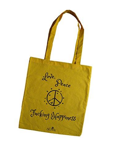 Borsa tote donna Love Peace & Fucking Happiness porpora giallo