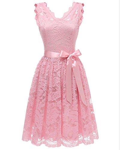Homrain Damen Vintage 1950er Cocktailkleid V-Ausschnitt Spitzen Schwingen Rockabilly Abendkleid Pink M (Damen Hochzeit Bands Pink)