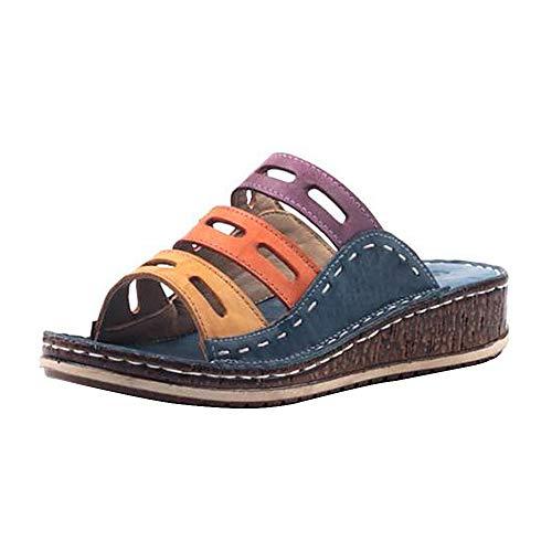 LASPERAL Damen Sandalen Frauen Sommerschuhe Pantoletten Bohemia Sandals Beach Elastische Schuhe Mehrfarbig in Größe 35-43