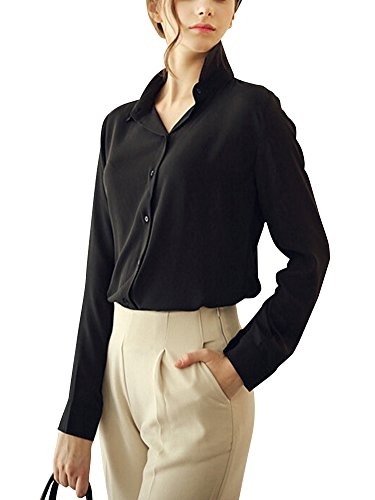 LaoZan Femme Mousseline Rever Blouse Shirt Boutons Chemise Manches Longues Hauts Tops Noir