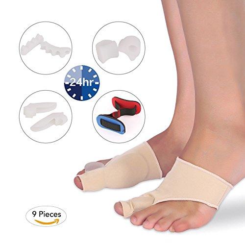 MARNUR Hallux Valgus Fußballen-Korrektur Pads mit Ballen Relief Socken Ärmel und Zehenspreizer Abstandshalter Glätteisen Schiene für Ballen Schmerzen und Hilfe Chirurgi Behandlung