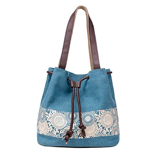 Betrothales Canvas Umhängetasche Damen Schultertasche Mädchen Casual Chic Shoulder Bag Shopper Bag Handbags Für Schule Reisen Arbeit Und Einkäufe Blumenmuster (Color : Smaragd, Size : One Size)