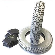 Silla 2 neumáticos 3.00 – 8, gris + 2 unidades Manguera ángulo Válvula, neumáticos