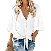 CRYYU Womens Button Down V-Neck Tops Tie Knot Chiffon Summer Shirt Blouses White US M