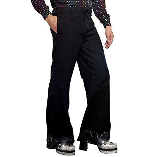 YiZYiF Schwarze Herren Schlaghose 1970er Jahre Kostüm Lange Hose Pants Fasching Karneval Cosplay Halloween Kostüm Performance Schwarz 4X-Large
