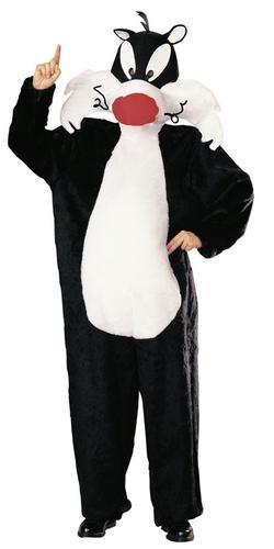 Für Erwachsene Looney Tunes Kostüm - Elbenwald Looney Tunes - Kater Sylvester Cartoon Kostüm, Overall mit Kopfbedeckung für Erwachsene