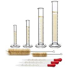 Tanouu 4 maatcilinders – 5 ml, 10 ml, 50 ml, 100 ml – hoogwaardig glas – bevat 2 reinigingsborstels + 3 pipetten van glas met 1 ml