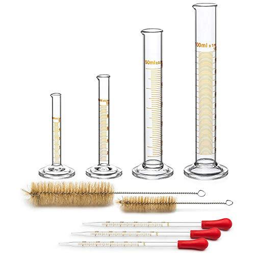 TOOGOO 4 Messzylinder - 5 Ml, 10 Ml, 50 Ml, 100 Ml - Premium Glas - Enth?lt 2 Reinigungsbürsten + 3 X 1 Ml Glaspipetten - Messbecher 4 Glas