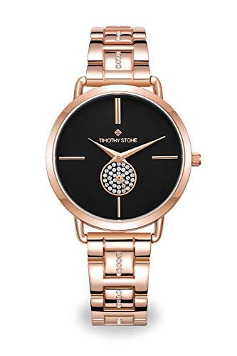 Armbanduhr mit Rose Gold Akzente und Swarovski Schwarz Pave Dial
