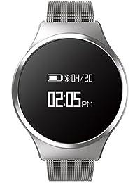 Hombre Casual Moda Inteligente Watch, Podómetro Ritmo cardíaco y monitor de sueño Led Impermeable Botón grande, Pulsera de bluetooth-D