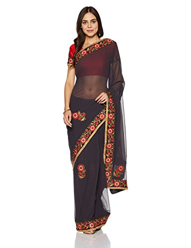 Womanista Women's Embroidered Faux Georgette Saree with Blouse Piece (FS9219-Grey-Free Size)