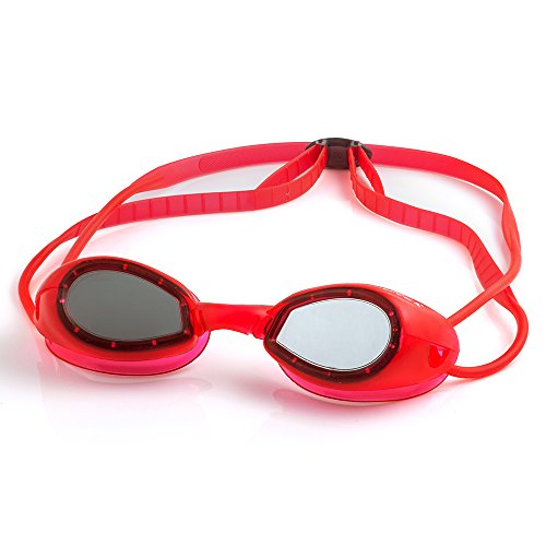 LANE4 Junior Swim Goggle - One-piece Frame Soft Seals, Anti-fog UV Protection, No leaking Easy Adjustment Quick Fit Comfortable for Junior Children Kids #70710 (Red) -