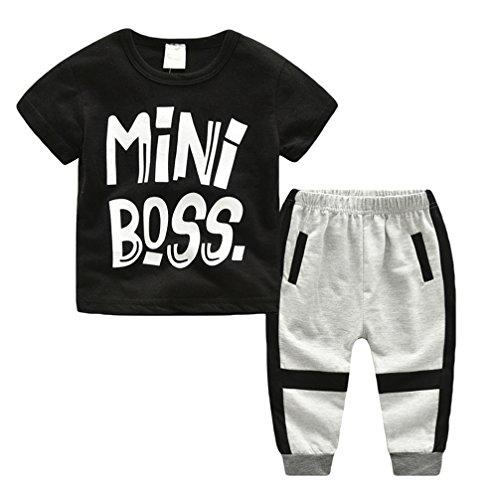 JEELINBORE Unisex Bambino T-Shirt Mini Boss Stampa Lettera Camicia Maglietta + Casuale Pantaloni Harem Abiti Set 2pcs (Grigio, 90)