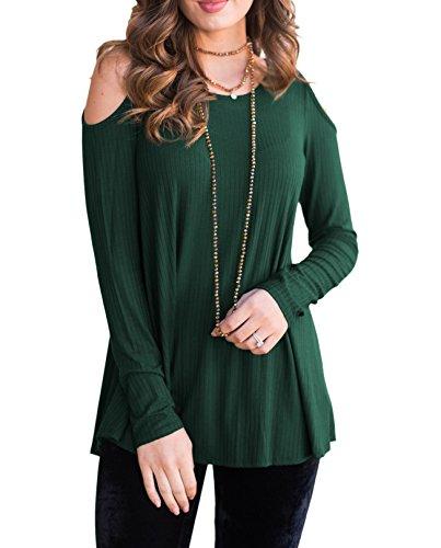 Lylafairy 42 Tshirt, Damen Schulterfrei Bluse Kreuz V Ausschnitt Top Langarm Oberteile Beiläufige Shirt (XL/42, Grün)