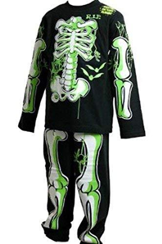 Childrens Glow in The Dark Skeleton Pyjamas/Fancy Dress Outfit Black With Green/White Bones 3-4 5-6 7-8 9-10 (5-6)