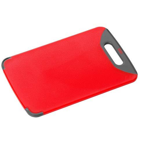 Silit Schneidebrett rot 32 x 20 cm rechteckig aus hochwertigem Kunsstoff mit praktischem Griff spülmaschinengeeignet leichte Reinigung hygienisch klingenschonend geschmacksneutral Roter Griff