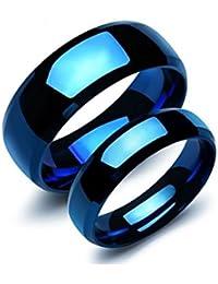 Bishilin 2 PCS de Acero Inoxidable Anillo para Mujeres Hombres Alto Pulido Ronda Ancho 8/6 MM Anillos de Bodas Anillo Azul para Parejas