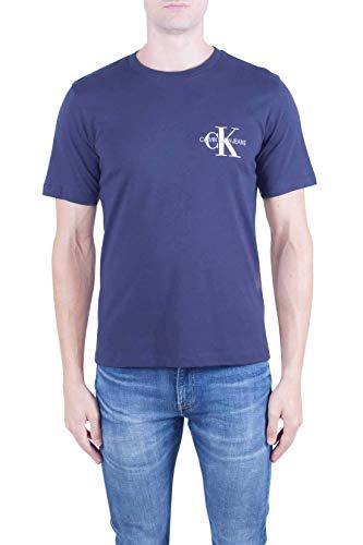 Calvin klein jeans - t-shirt uomo blu con logo mongramma - taglia xxl