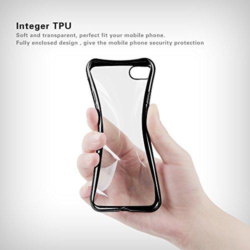 Iphone 7 Hülle, weiche TPU Silkon Schutzhülle mit der Grenze von der Farbe der Galvanik, für Iphone 7 Hülle -- Gold Jet Black