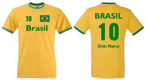 Fruit of the Loom Brasilien Herren T-Shirt Retro Trikot Wunschname & Nummer|L -