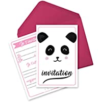6 cartes d'invitation anniversaire sur le thème des animaux - Pandala le Panda (en français)