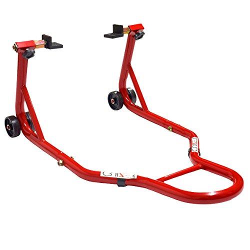 Cruizer- Caballete trasero para motos universal, con barras de refuerzo en los laterales, Rojo