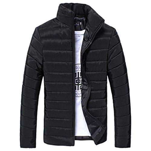Hommes Coton Stand Zipper Chaud Hiver Veste Manteau Épais Tefamore (Noir, XXL)