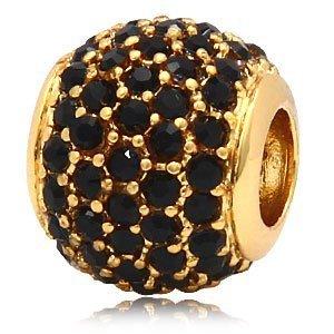 Andante-Stones 14K Gold Pavé Bead mit schwarzen Zirkoniasteinen - Element Kugel für European Beads + Organzasäckchen