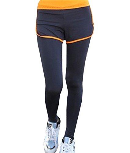DaBag Pantaloni Vita regular Elasticizzati Correre Jog Danza Palestra Athletic Stretti Fitness Pants Invernali Yoga Sport Donna Leggings nero-arancione