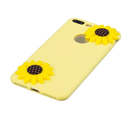 per iPhone 7 Plus 5.5 Custodia cover,Herzzer Unico Molto sottile Silicone morbido TPU Gel Caramelle colorate [Viola] flessibile Shock-Absorption Anti scratch Bumper Case Cover per iPhone 7 Plus 5.5  girasole